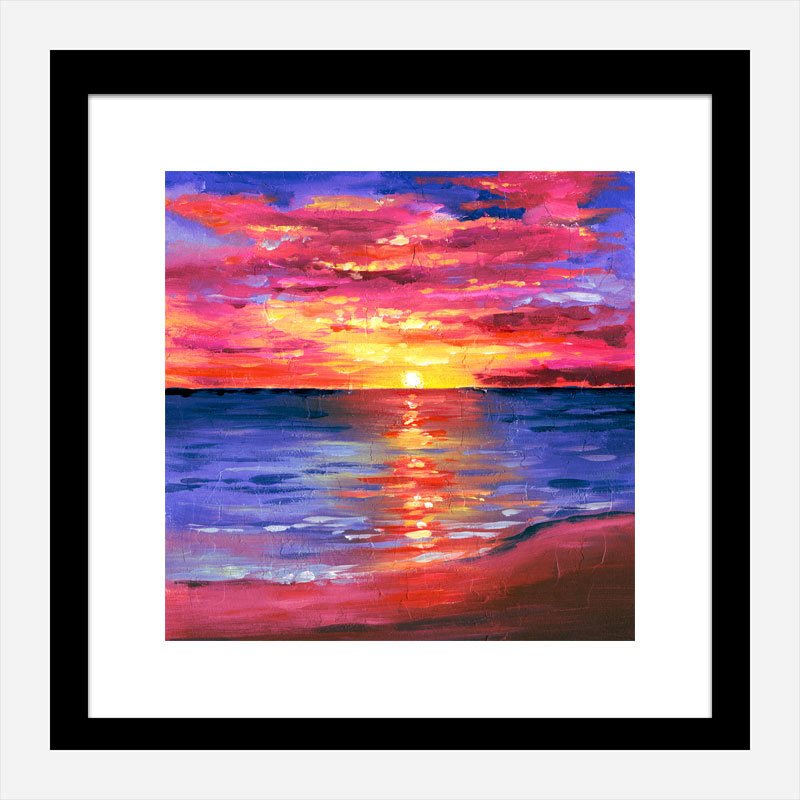 Pink Sunset Abstract Art Print