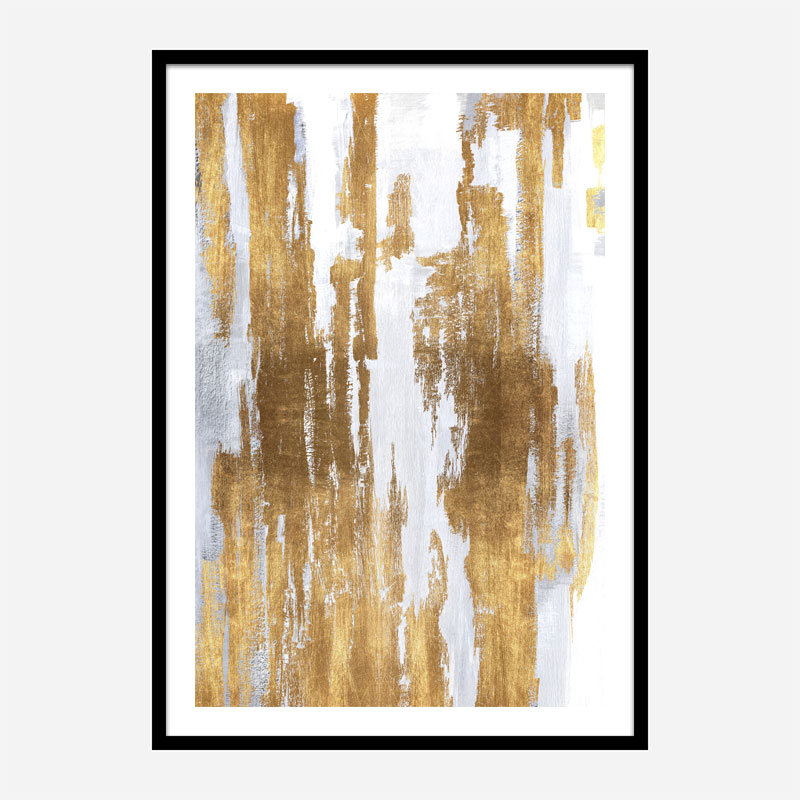 Golden Lines Abstract Art Print