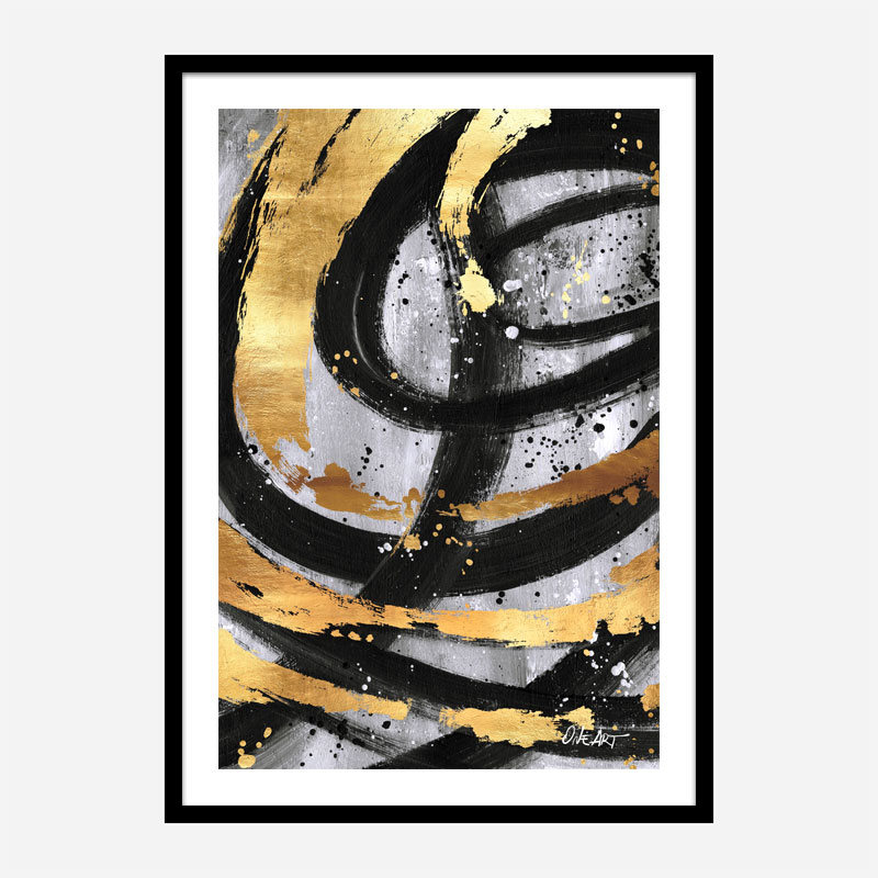 Golden Circles Abstract Art Print