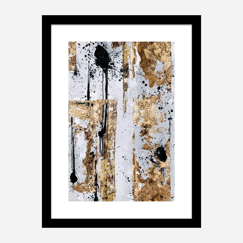 Gold & Black Spots Abstract Art Print