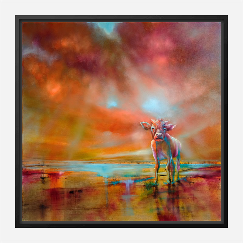 Colorful Cow Abstract Art Print