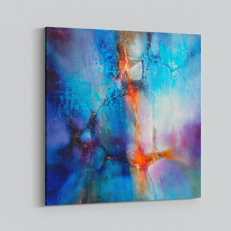 Turquoise and Magenta Abstract Art Print