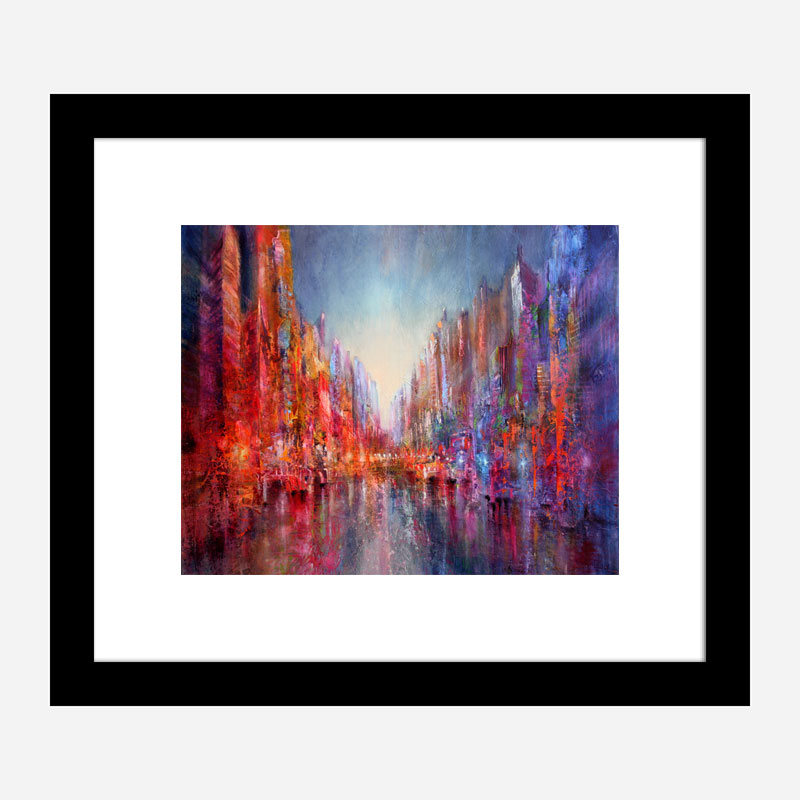 City on the River Abstract Art Print
