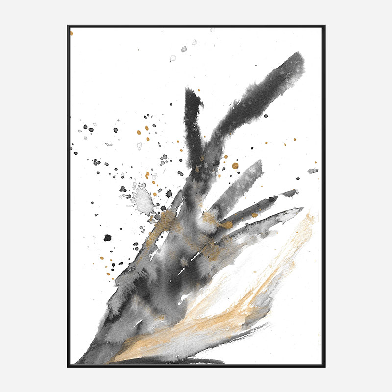 Black Ink & Gold Abstract Art Print