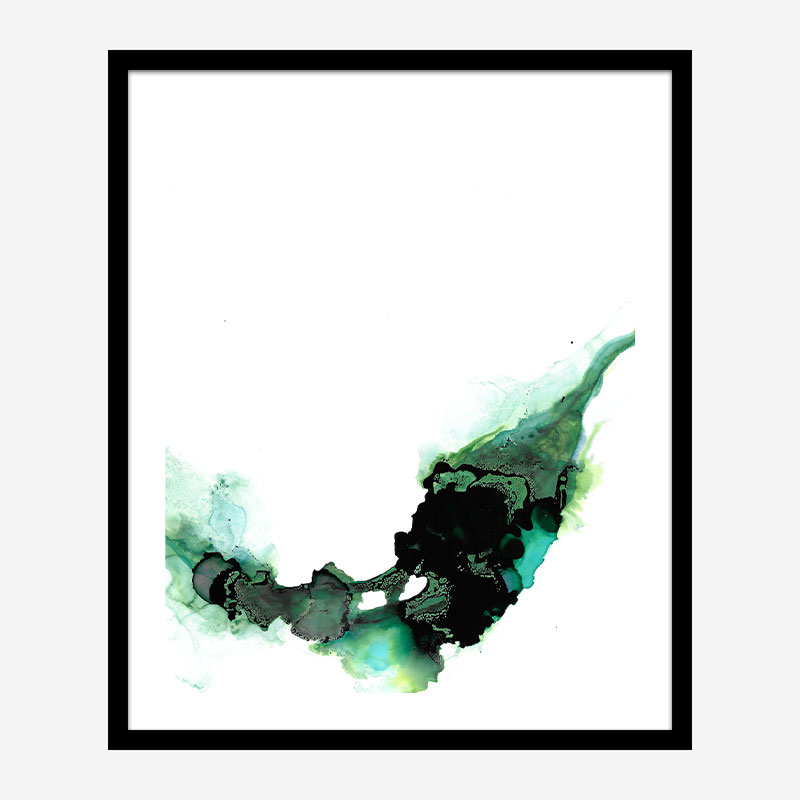Green Drops Abstract Art Print