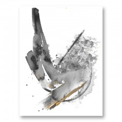 Water & Gold Ink Abstract Art Print