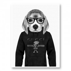Beagle in Gucci Black and White Art Print