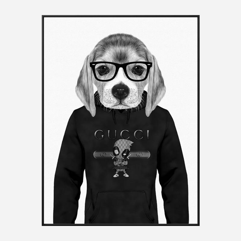 Beagle in Gucci Black and White Art Print