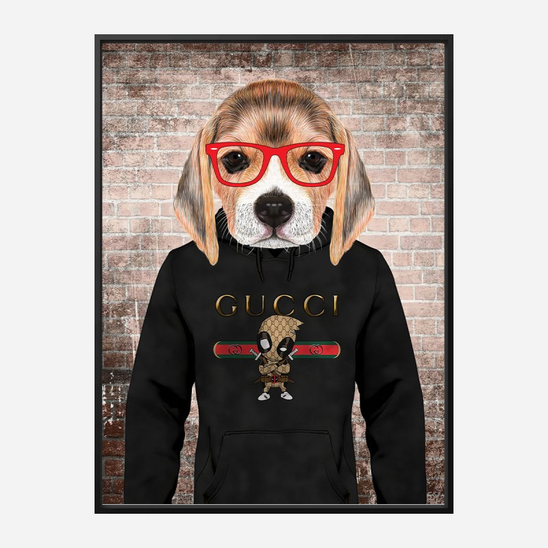 Beagle in Gucci Hoodie Art Print