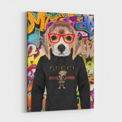 Beagle in Gucci Hoodie Graffiti Art Print