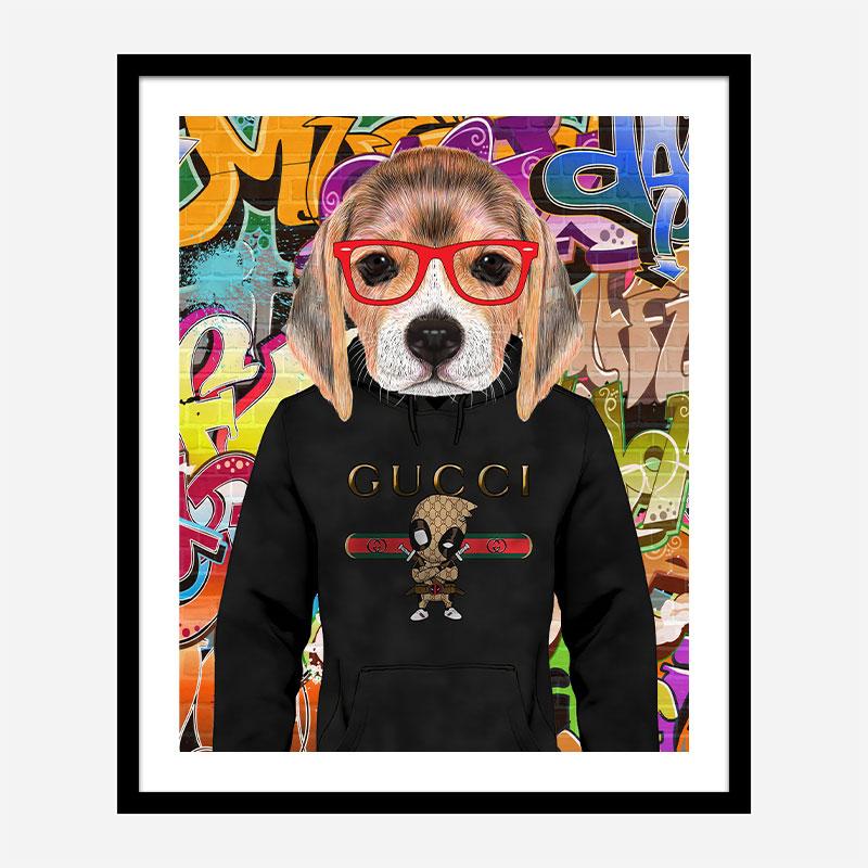 Beagle in Gucci Hoodie Graffiti Art Print