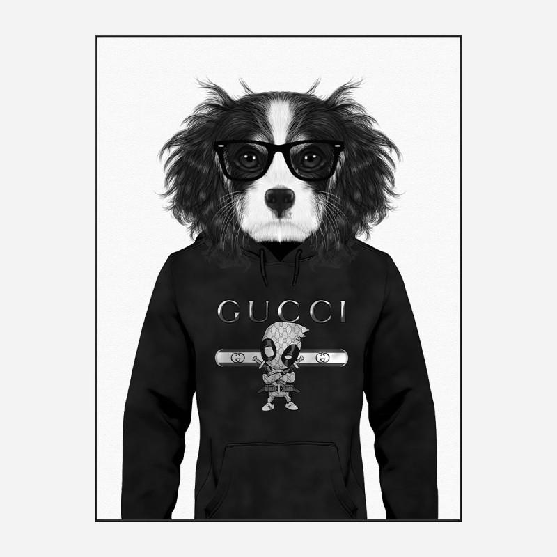King Charles Spaniel in Gucci Hoodie Black and White Art Print