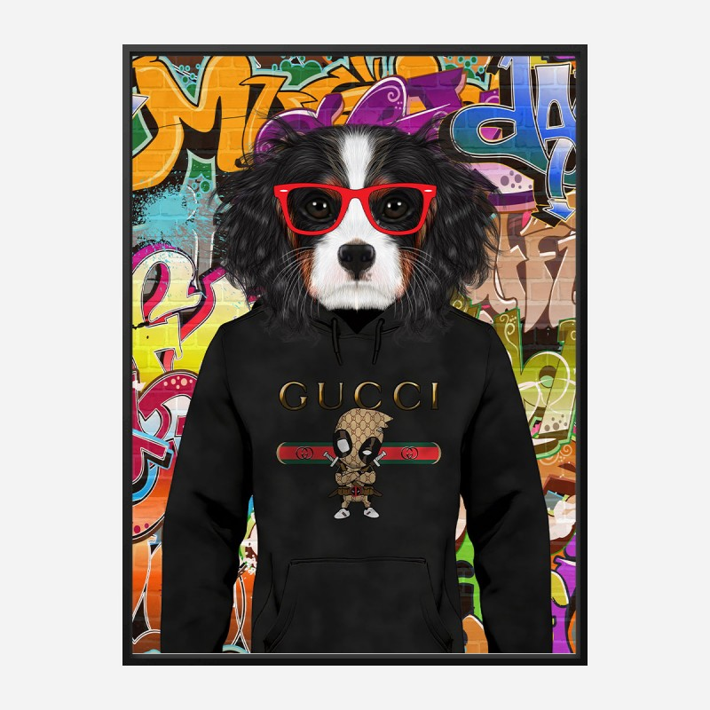 King Charles Spaniel in Gucci Hoodie Graffiti Art Print