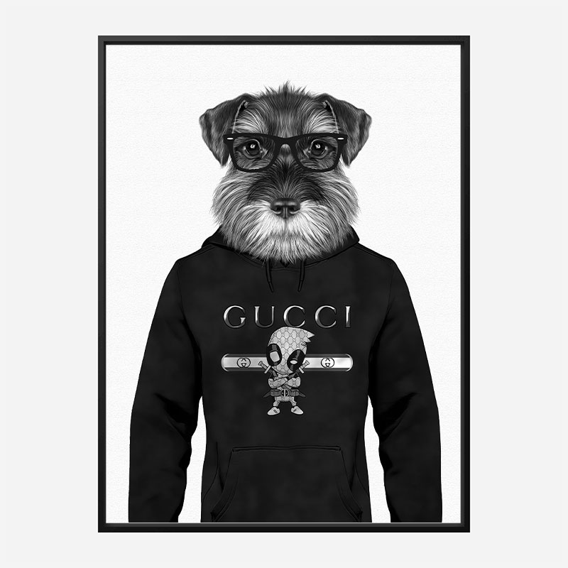 Schnauzer Dog in a Gucci Hoodie Black and White Art Print