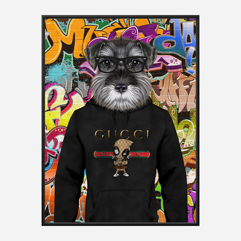 Schnauzer Dog in a Gucci Hoodie Graffiti Art Print