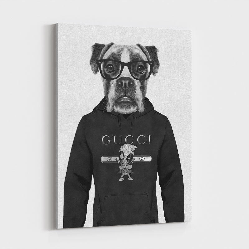 Boxer Dog in a Gucci Hoodie Black and White Art Print