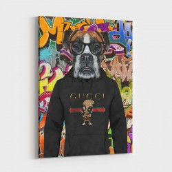 Boxer Dog in a Gucci Hoodie Graffiti Art Print