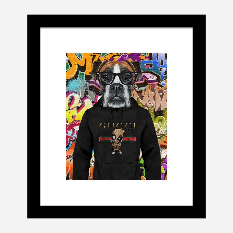 Boxer Dog in a Gucci Hoodie Graffiti Art Print