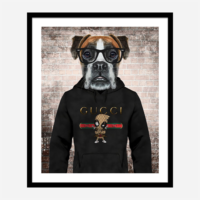 Boxer Dog in a Gucci Hoodie Art Print
