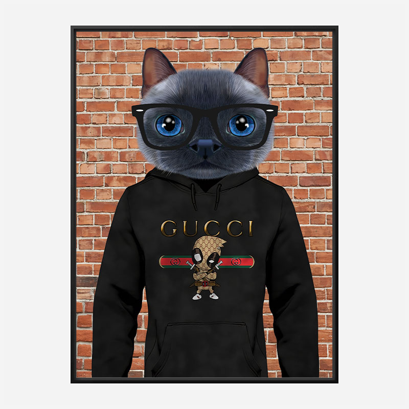 Cat in a Gucci Hoodie Art Print