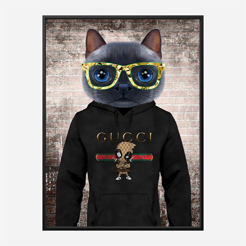 Cool Cat Gucci Hoodie Art Print
