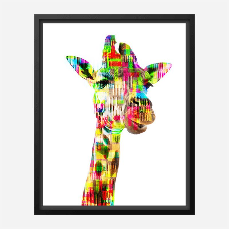 Giraffe Glitch Art Print