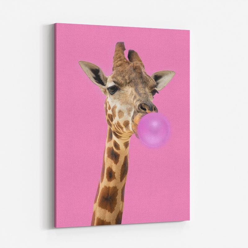 Bubble Gum Giraffe Art Print