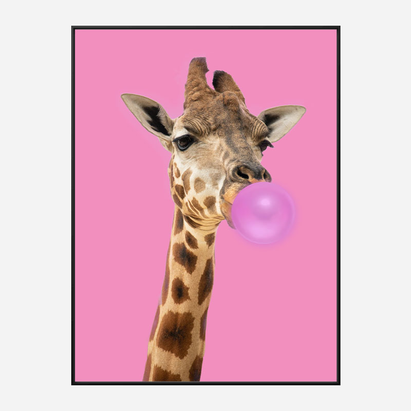 Bubble Gum Giraffe Art Print