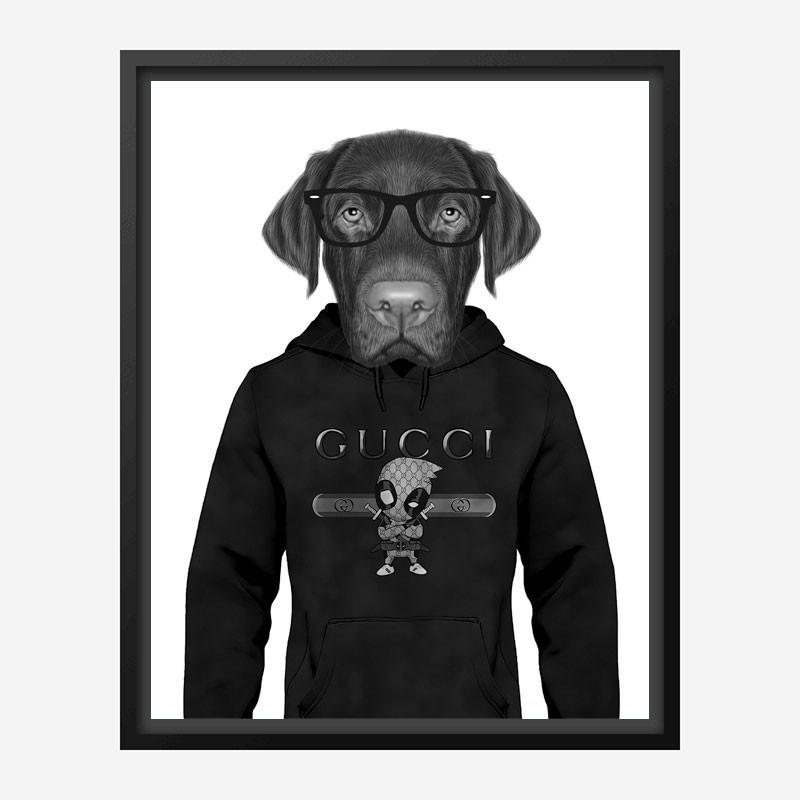 Labrador in Gucci Hoodie Art Print