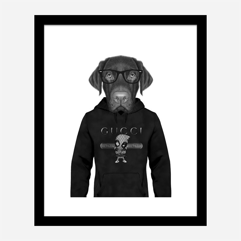Labrador in Gucci Hoodie Art Print