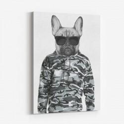 French Bulldog in Cammo Hoodie Art Print