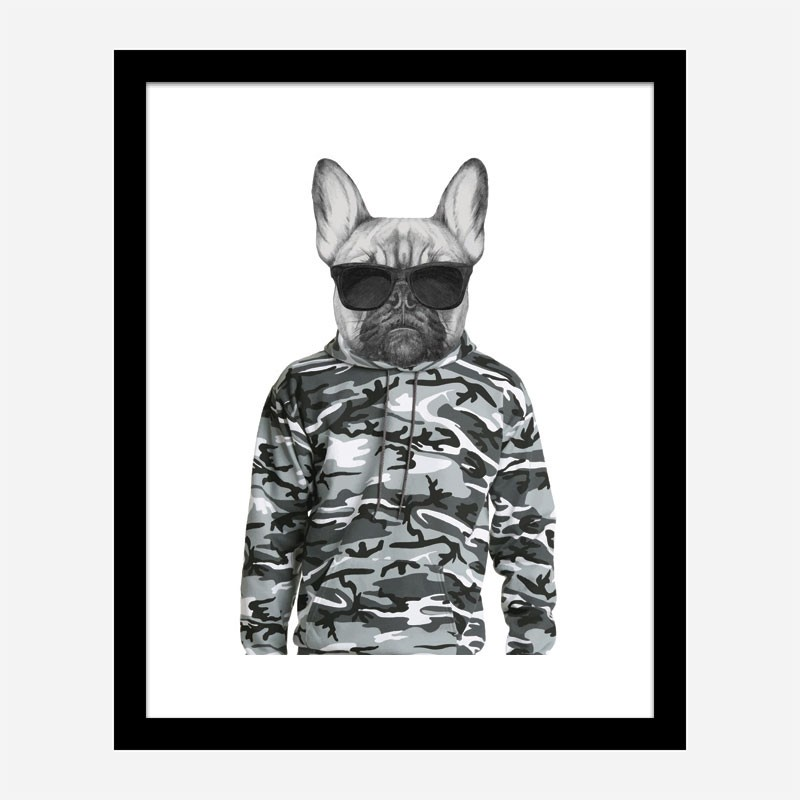 French Bulldog in Cammo Hoodie Art Print
