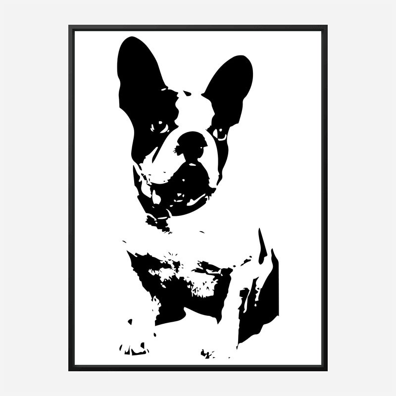 French Bulldog Black & White Art Print