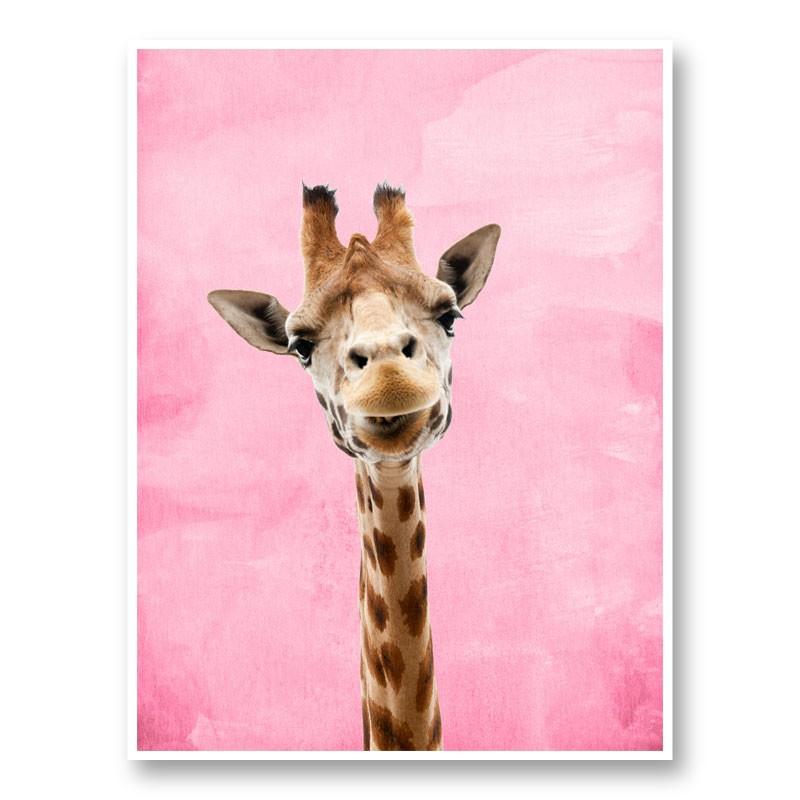 Pink Giraffe Art Print
