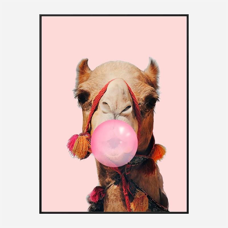 Pink Camel Bubble Gum Art Print