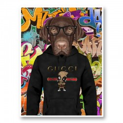 Labrador Dog in a Gucci Hoodie Graffiti Art Print