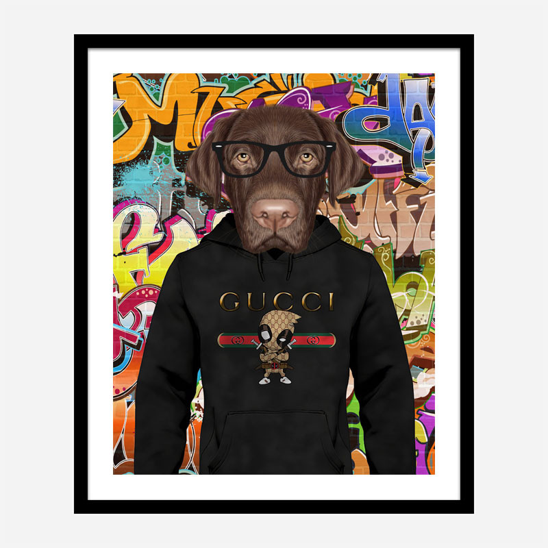 Labrador Dog in a Gucci Hoodie Graffiti Art Print