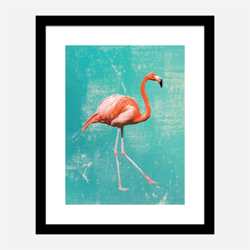 Flamingo Grunge Art Print