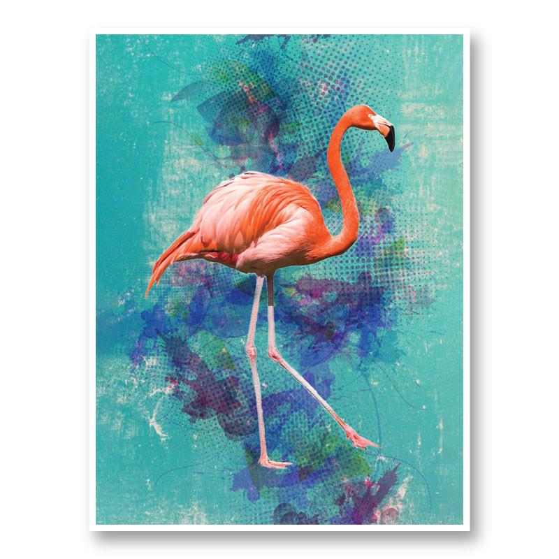 Pink Flamingo Grunge Art Print