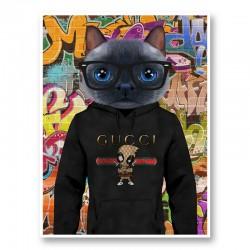Cat in a Gucci Hoodie Graffiti Art Print