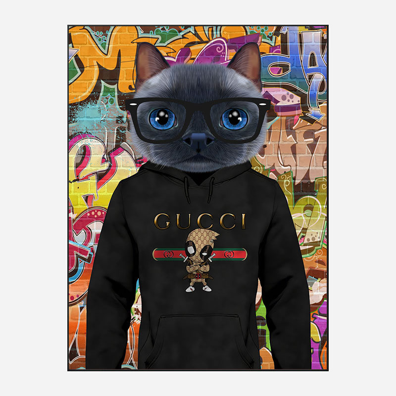 Cat in a Gucci Hoodie Graffiti Art Print