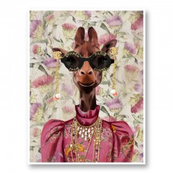 Giraffe Fashion Victim Art Print