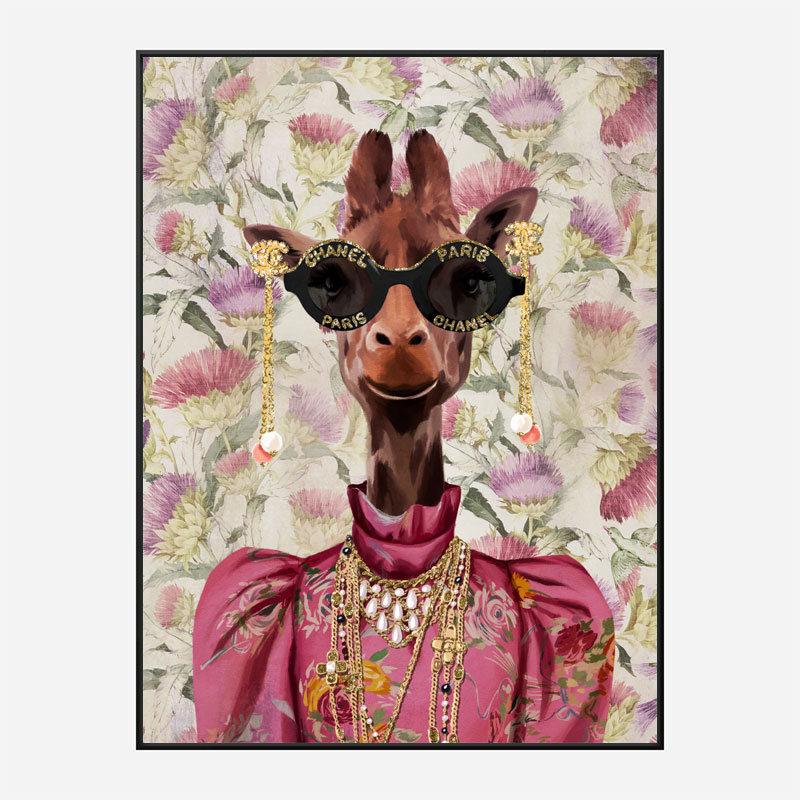 Giraffe Fashion Victim Art Print