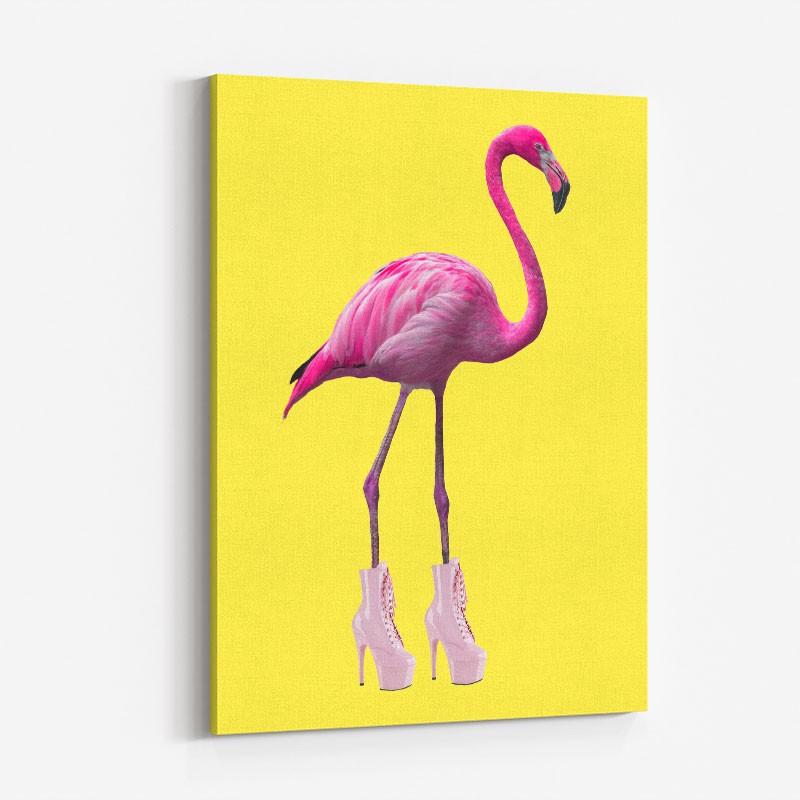 Flamingo Boots Yellow Art Print