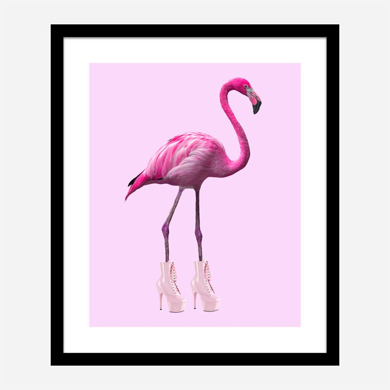 Pink Flamingo Boots Art Print