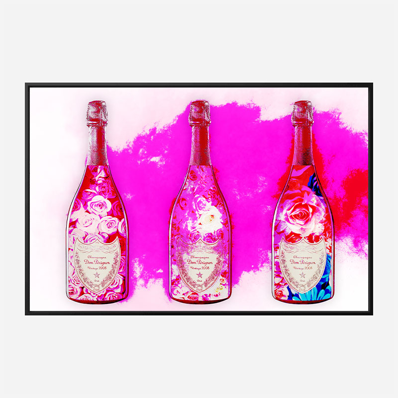 DP Flowers Pink Pop Champagne Wall Art
