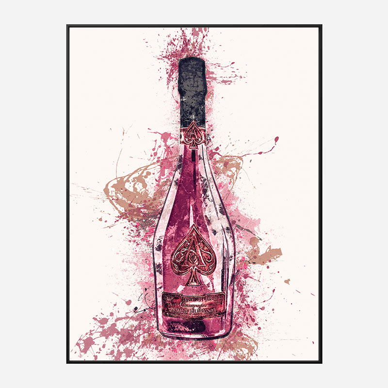 Ace Of Spades Rose Champagne Art Print