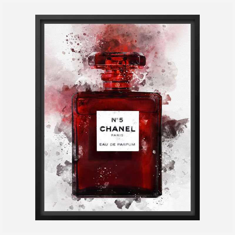 Chanel No 5 Red Perfume Bottle Water Color Art Print