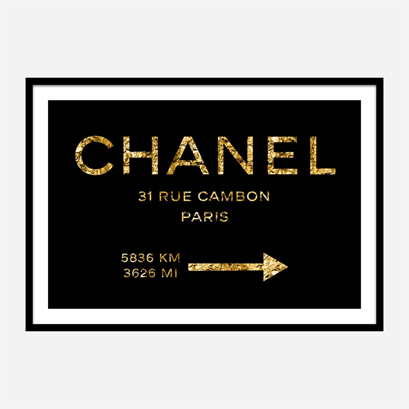 Chanel Rue Cambon Paris in Gold Wall Art
