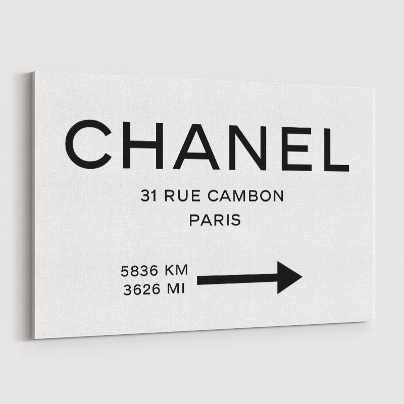 Chanel Rue Cambon Paris White Sign Wall Art
